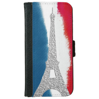 Eiffel Tower Red White Blue   French iPhone 6 Wallet Case