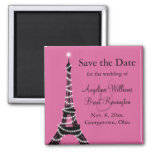Eiffel Tower Sparkles Save the Date  (fuchsia) Square Magnet