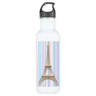 Eiffel Tower Stripes 24 oz. White 710 Ml Water Bottle