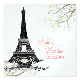 Eiffel Tower + swirls  Wedding Invitations