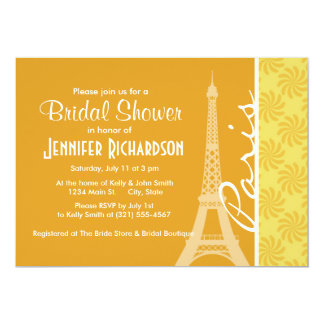 Eiffel Tower; Yellow Orange Paris Personalized Announcement
