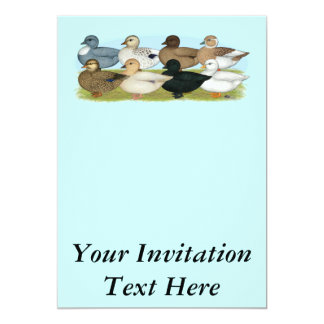 Eight Call Ducks 13 Cm X 18 Cm Invitation Card