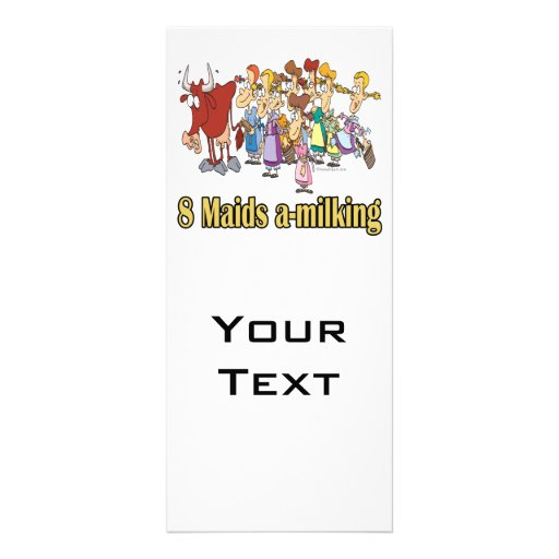 eight maids a-milking 8th eighth day christmas rack card template
