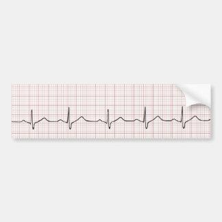 EKG heartbeat on graph paper, PhD (doctor) pulse Bumper Sticker