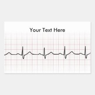 EKG heartbeat on graph paper, PhD (doctor) pulse Rectangular Sticker