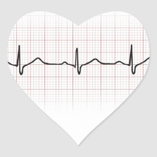 EKG heartbeat on graph paper, PhD (doctor) pulse Heart Sticker