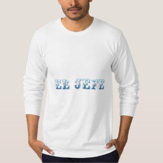 El Jefe logo Floreado blue azul T Shirt