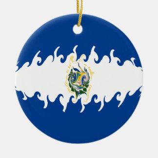 El Salvador Gnarly Flag Christmas Ornament