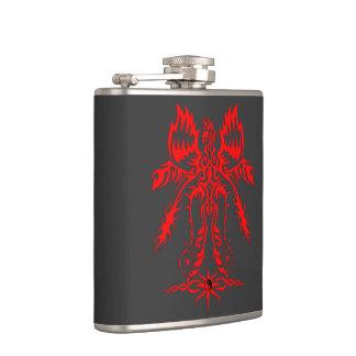 Elaborate phoenix red hip flask