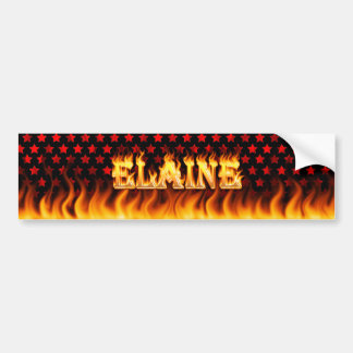 Elaine real fire and flames bumper sticker design.