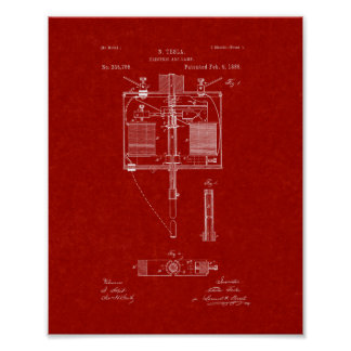 Electric Arc Lamp Patent - Burgundy Red Poster