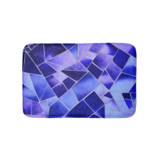 Electric blue mosaic bath mat
