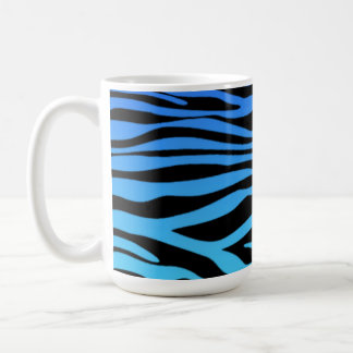 Electric Blue Zebra Stripes Animal Print Coffee Mug