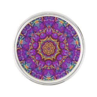 Electric Flower Purple Rainbow Kaleidoscope Art Lapel Pin