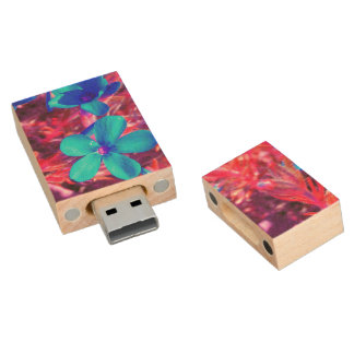 Electric Flowers Wood USB 2.0 Flash Drive