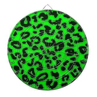 Electric Green Leopard Pattern Animal Print Dartboard