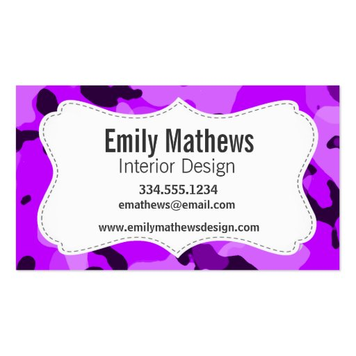 Electric Purple Camo; Camouflage Business Card Templates