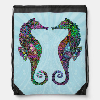 Electric Seahorse Drawstring Bag