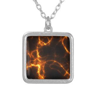 Electric Shock in Orange Square Pendant Necklace