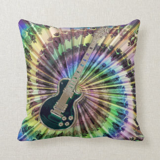 Electric Tie-Dye Guitar Pillow