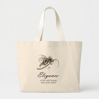 Elegance Fashion Quote Large Tote Bag