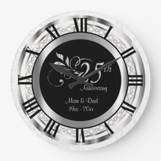 Elegant 25th Silver Diamond Anniversary Clock
