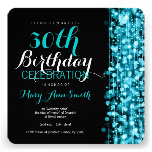 Elegant 30th Birthday Party Sparkles Turquoise Custom Invitations