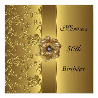 Elegant 50th Birthday Invite Gold Floral Brocade