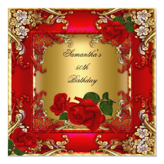 Elegant 50th Birthday Party Gold Red Rose Card