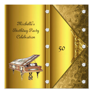 Elegant 50th Birthday Party Piano Vintage Card