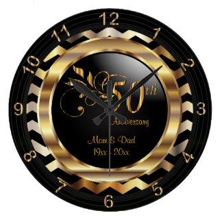 Elegant 50th Gold Chevron Anniversary Design Large Clock