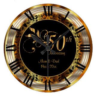 Elegant 50th Golden Anniversary Large Clock