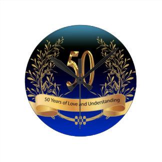 Elegant 50th Wedding Anniversary Gifts Round Clock