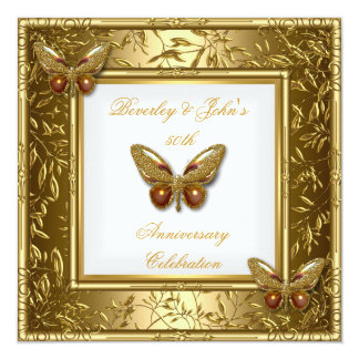 """Elegant 50th Wedding Anniversary Gold Butterfly 2 5.25"""" Square Invitation Card"""