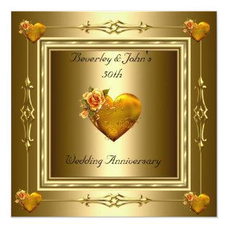 "Elegant 50th Wedding Anniversary Gold Hearts 5.25"" Square Invitation Card"