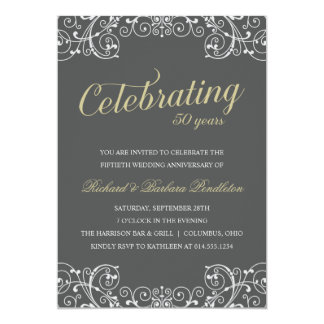 Elegant 50th Wedding Anniversary Party Personalized Invitation