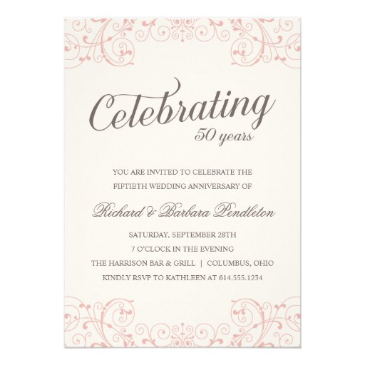 Elegant 50th Wedding Anniversary Party Personalized Announcements