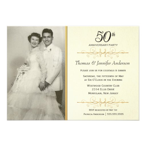 Elegant 50th Wedding Anniversary Party Invitations