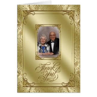 Elegant 50th Wedding Anniversary Photo Thank You Card
