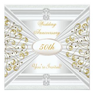 "Elegant  50th Wedding Anniversary White Gold 5.25"" Square Invitation Card"