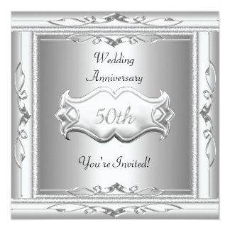 """Elegant  50th  Wedding Anniversary White Silver 5.25"""" Square Invitation Card"""