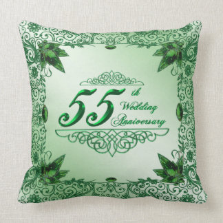 Elegant 55th Wedding Anniversary Throw Pillow