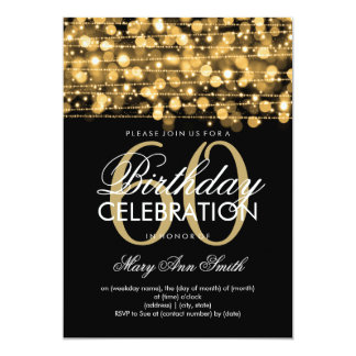 Elegant 60th Birthday Party Sparkles Gold Card