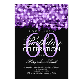 Elegant 60th Birthday Party Sparkles Purple Custom Invites