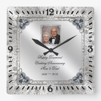 Elegant 60th Wedding Anniversary Photo Clock