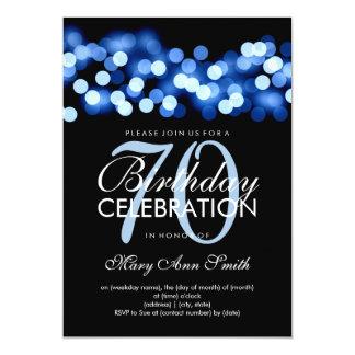Elegant 70th Birthday Party Blue Hollywood Glam 13 Cm X 18 Cm Invitation Card