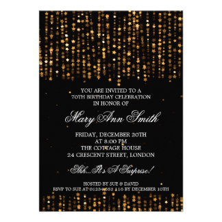 Elegant 70th Birthday Party Confetti Stars Gold Personalized Invites