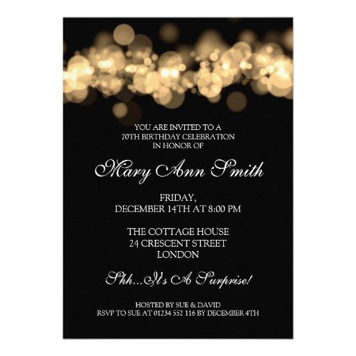 Elegant 70th Birthday Party Gold Bokeh Lights Custom Invite