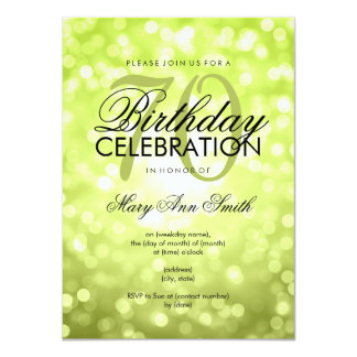 Elegant 70th Birthday Party Green Glitter Lights 11 Cm X 16 Cm Invitation Card