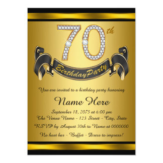 "Elegant 70th Birthday Party 5.5"" X 7.5"" Invitation Card"